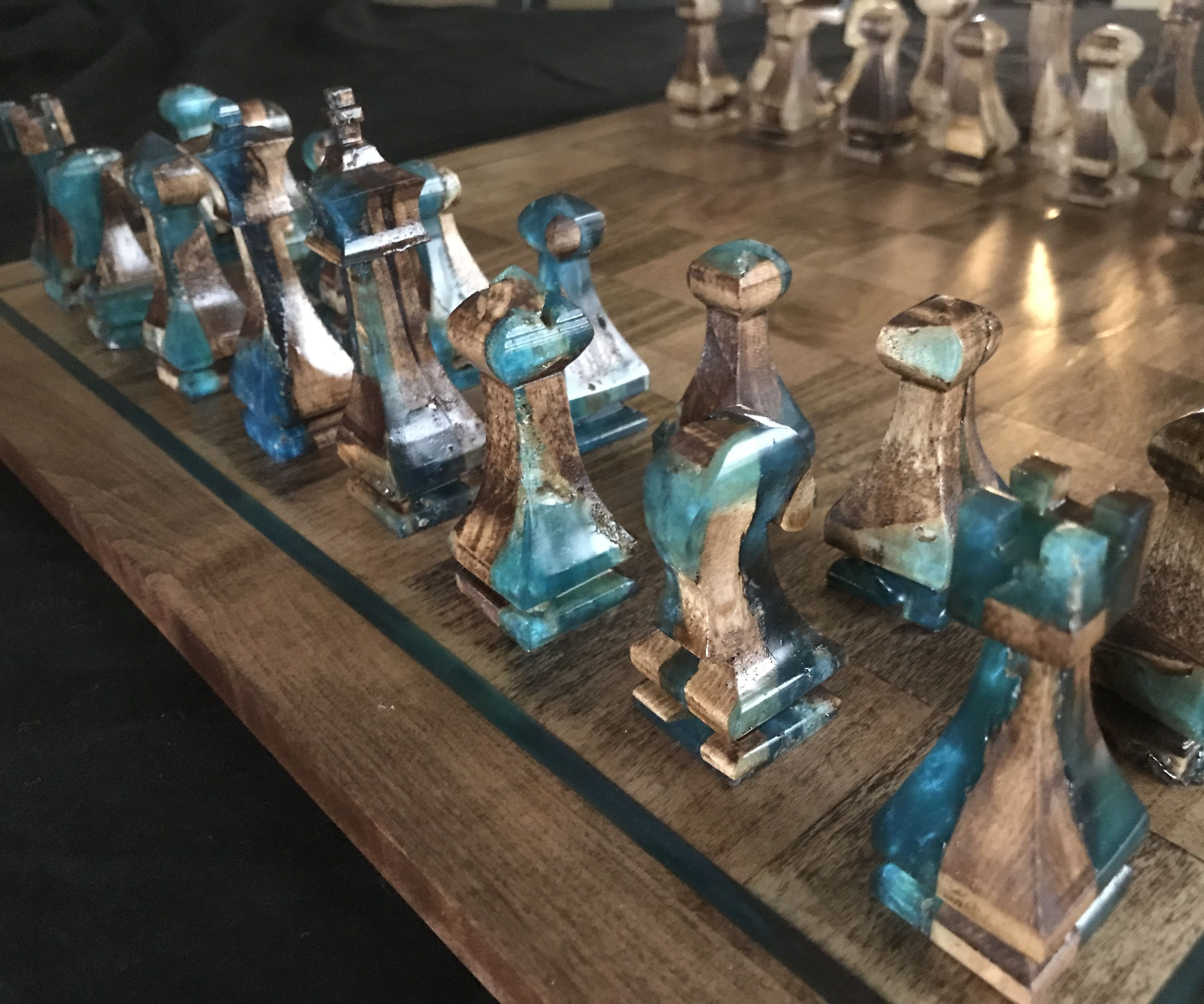 Wood and Resin Chess and Checker Board With Pieces From Scraps