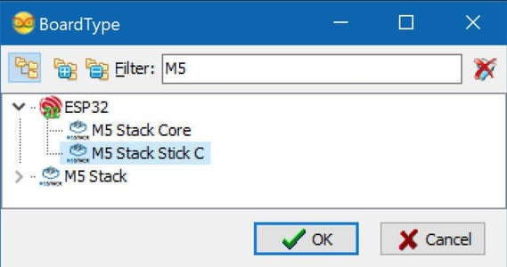 Start Visuino, and Select the M5 Stack Stick C Board Type