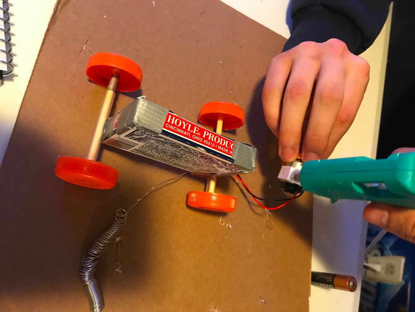 Hot Gluing the The Motor to the Card Box