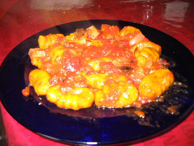 Pumpkin Gnocchi with Tomato Olive Sauce