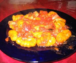 Pumpkin Gnocchi With Tomato Olive Sauce