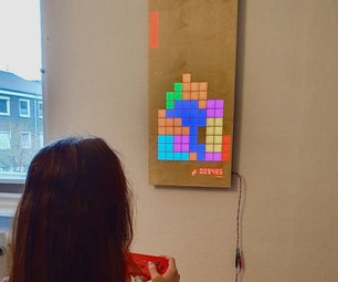 木制LED游戏显示屏,由Raspberry Pi Zero驱动