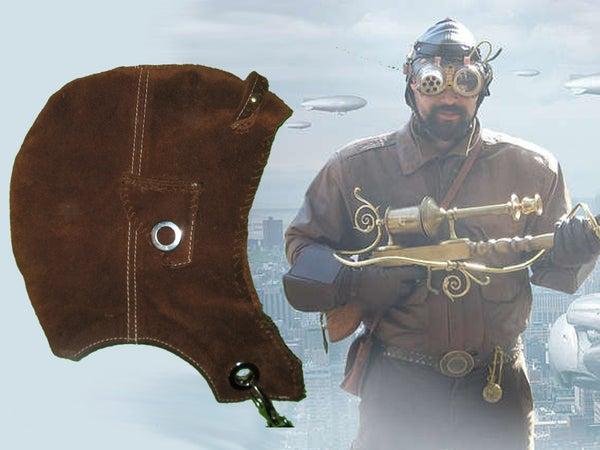 Steampunk Leather Skypirate Helmet (wizard Skullcap) Costume