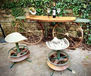 Outdoor Bar and Stools Made From Junk