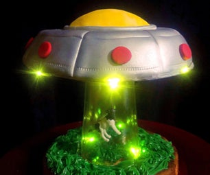 UFO Cow Abduction Cake