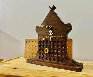 3d可打印永久桌面木制日历与手表