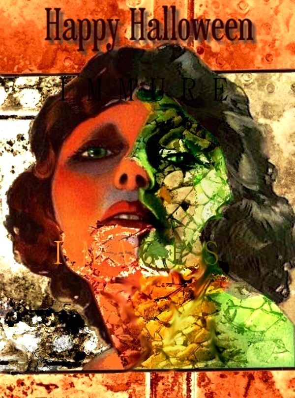 Art Deco Zombie Girl Card