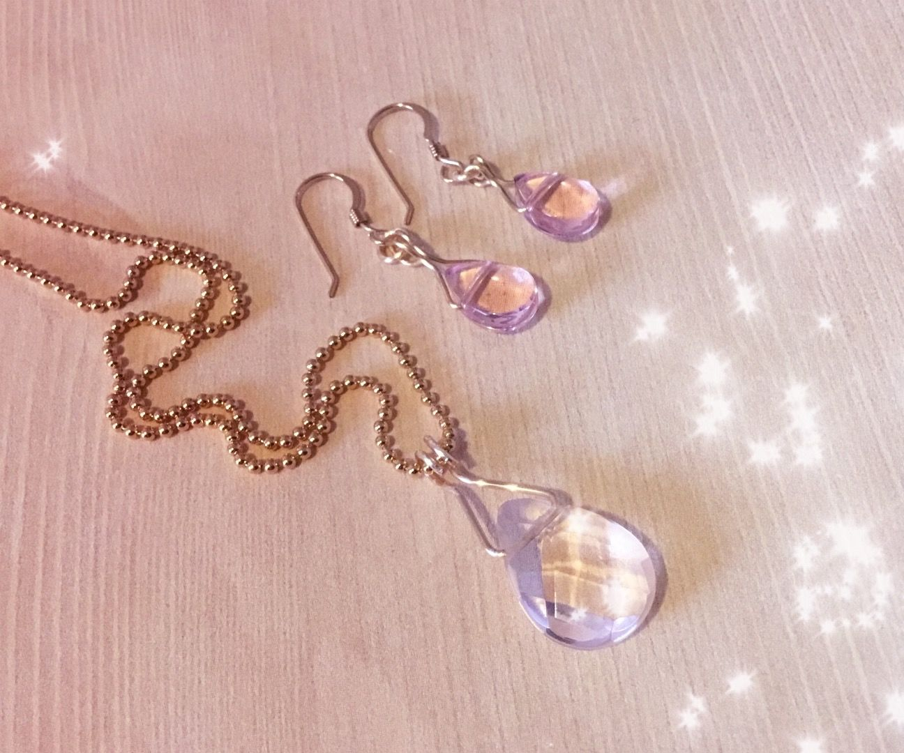 Easy DIY Crystal Earrings and Pendant