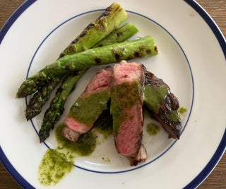 Grilled Ribeye With Mint Vinaigrette