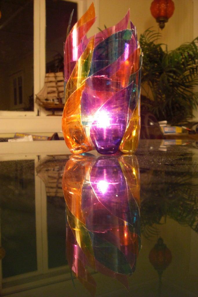 "Plastic Bottle ""Stained Glass"" Candleholder"
