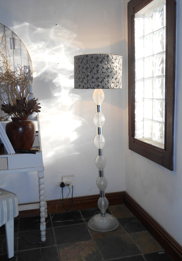 A table lamp from plastic bottles