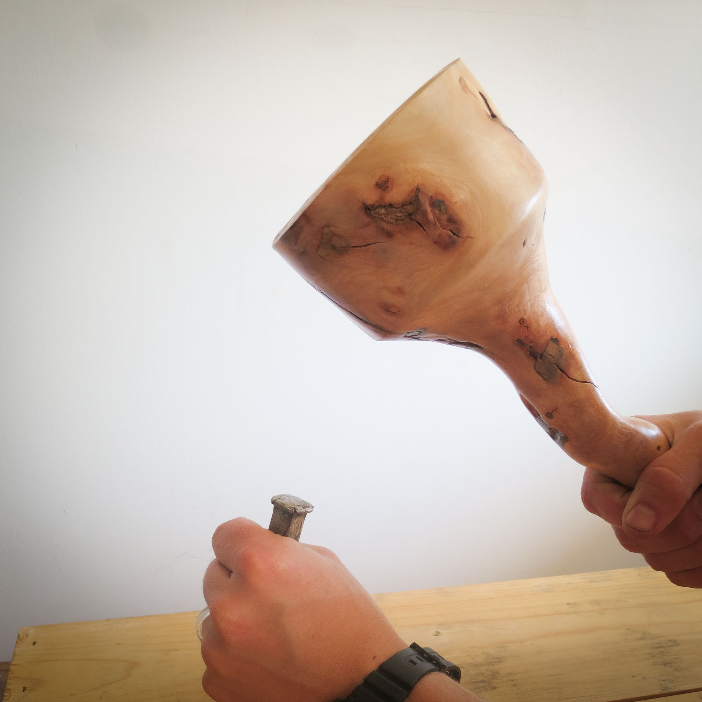 Wooden Mallet on a Lathe