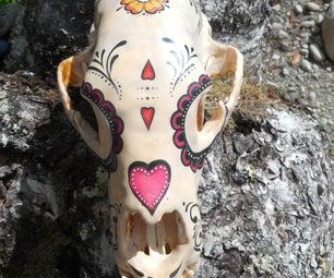 Day of the Dead Bear Skull Vanitas Encaustic Beeswax Painting
