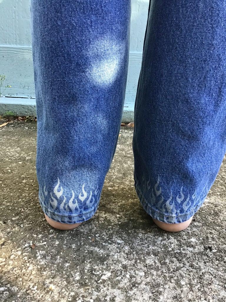 Laser Etched Flames on Denim Jeans