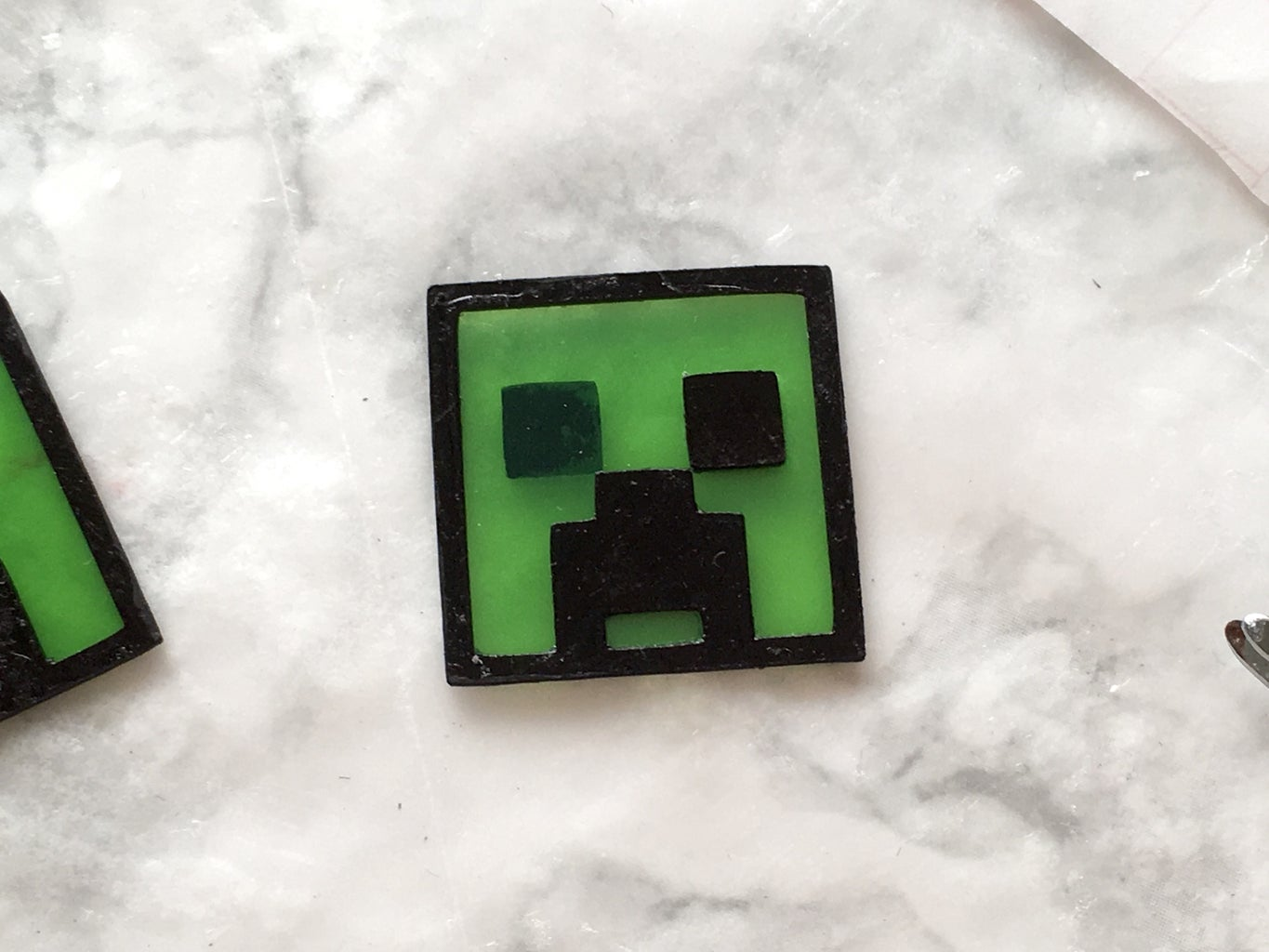 Gluing on Detached Pieces - Minecraft Creeper Stained Glass Earrings