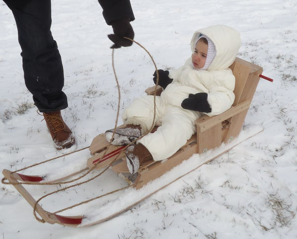 Convertible Oak Child Sled - Simple Design / Basic Tools