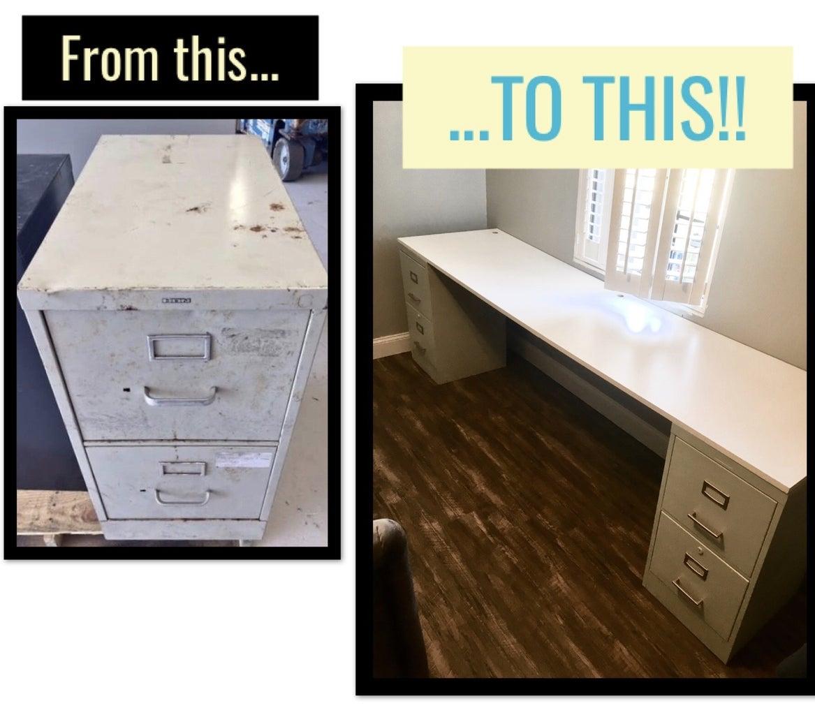 File Cabinet Desk Revamp