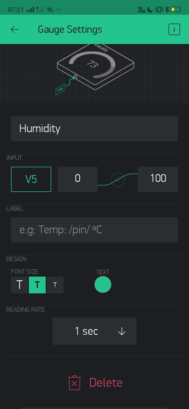 Configuring Blynk to Monitor Temperature and Humidity.