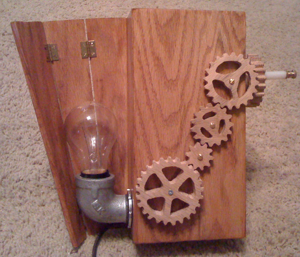 Wooden Lamp - Steam Punk Style