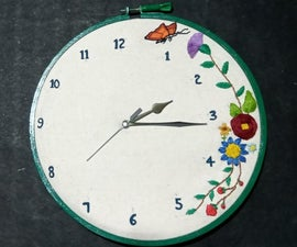 Hand Embroidered Wall Clock