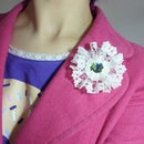 Make a lace flower brooch