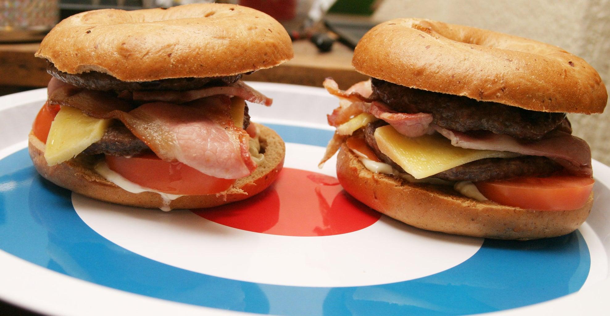 Bacon Bagel Double Cheeseburger