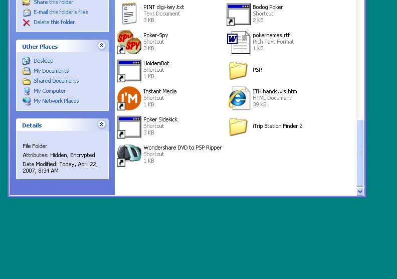 """Hidden Windows XP and Vista Folders """"How to hide files and folders"""""""