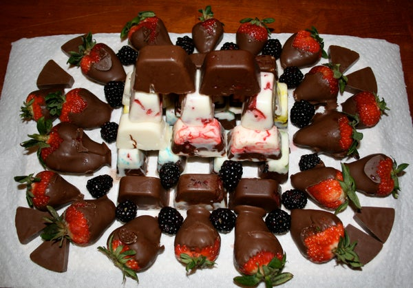 Home Made Chocolate and Fruit Plate