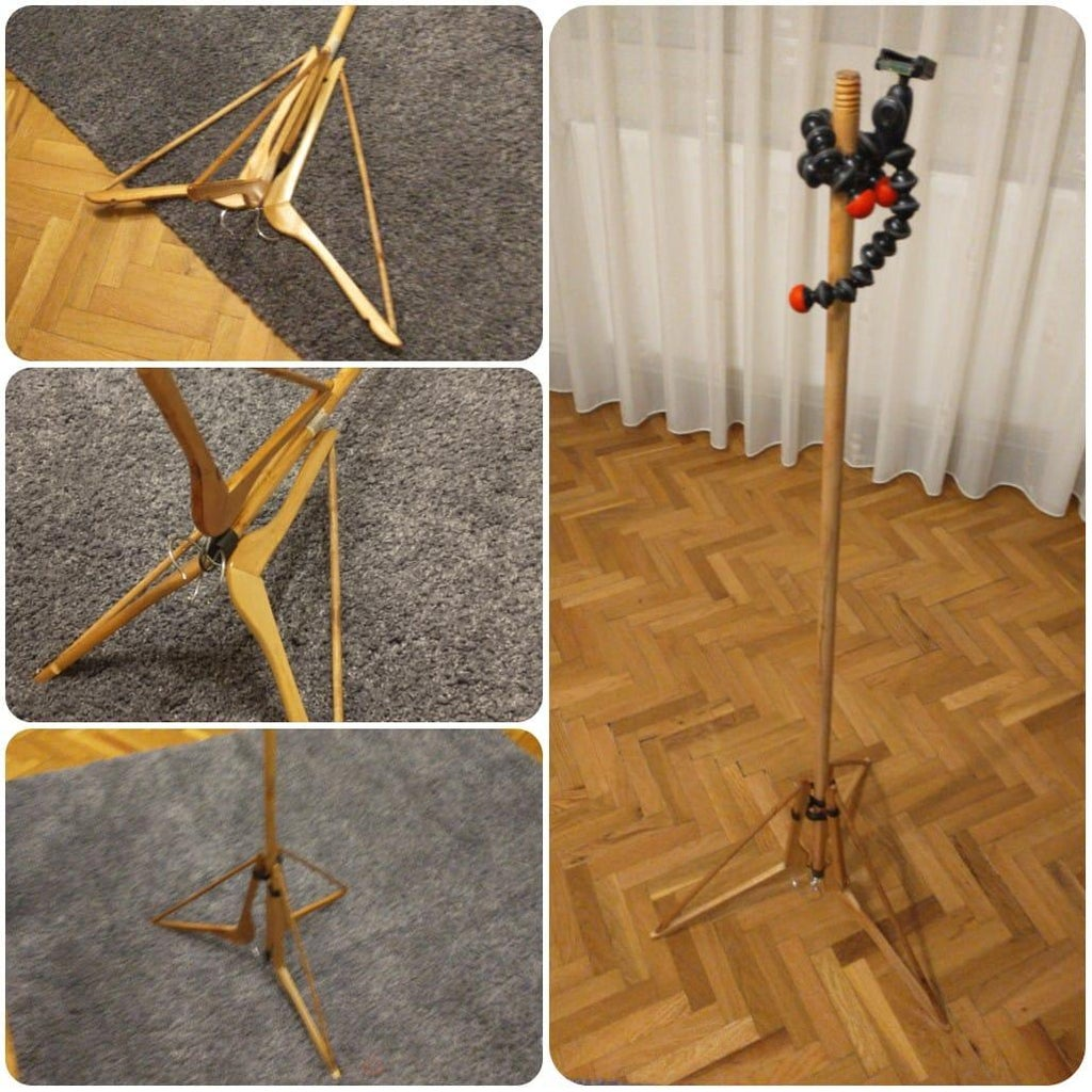 Cheapest, Simplest DIY, Light-duty Tripod Made of Things You Have Around (mop/broom Handle, Clothes Hangers, Nuts, Bolts)