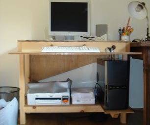 Simple computer table with storage