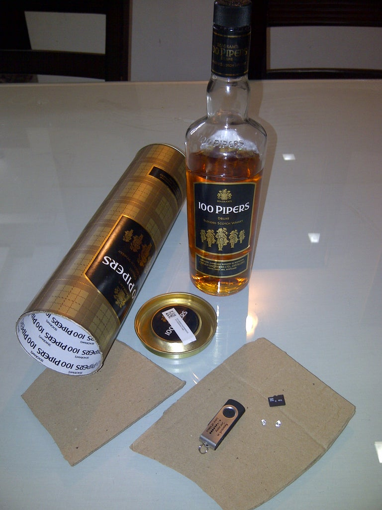 Whiskey/Wine Etc Bottle Container False Bottom - (Made for a Contest Long Lost)