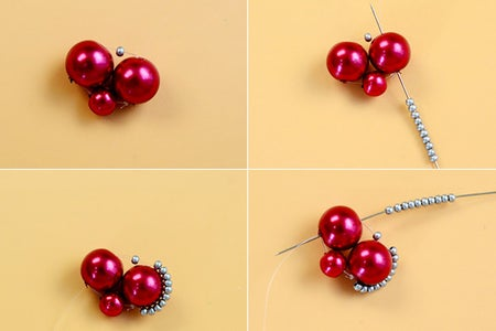 Instruction of Making Red Heart-pattern Necklace With Pearl Beads