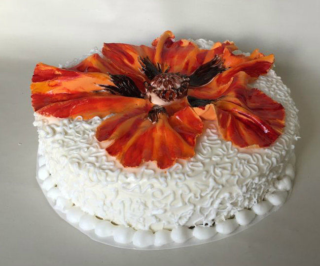 Georgia O'Keeffe - Inspired Painted Floral Cake