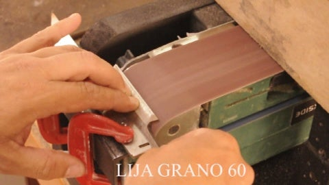 We Begin to Rough Down With Our Belt Sander (Sandpaper  Number 60), Once We Have Get a Typical Two Middle Moons. My Belt Sander Is Located in a Small Wooden Support Made by Myself ( I Will Explain How to Do It in Another Instructable).