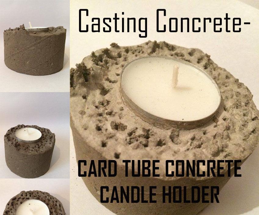 Tube Cast Concrete Candle Holder