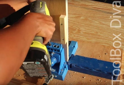 DRILL POCKET HOLES ON EACH END OF THE RAILS.