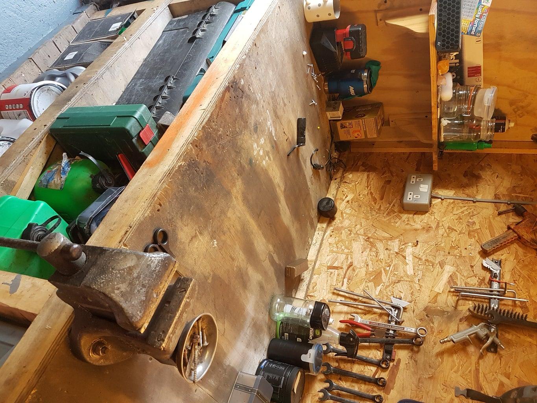 Repurposed Rubber Rail Pad Bench Top