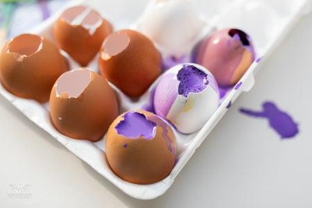 Pour Paint Into Eggs