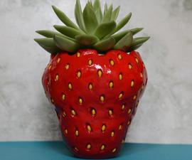 草莓花盆雕刻与风干黏土