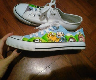 Hand-painted Adventure Time (or Any Design) Canvas Sneakers