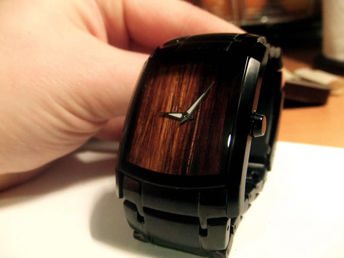 Wooden faced wristwatch
