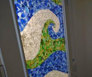 Tumbled Bottle Glass Mosaic Sliding Door