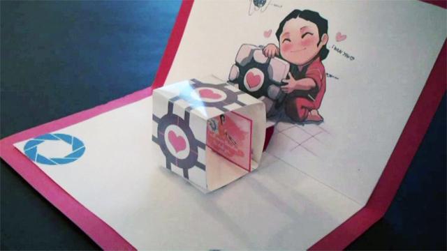 Valentine's Day Portal Companion Cube Pop Up Card!