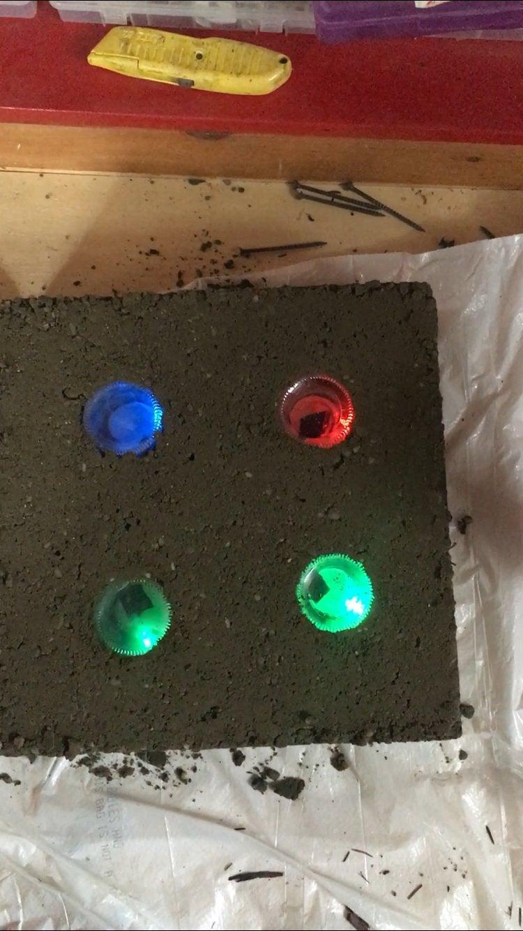 Blinking LED Concrete Garden Stepping Stone