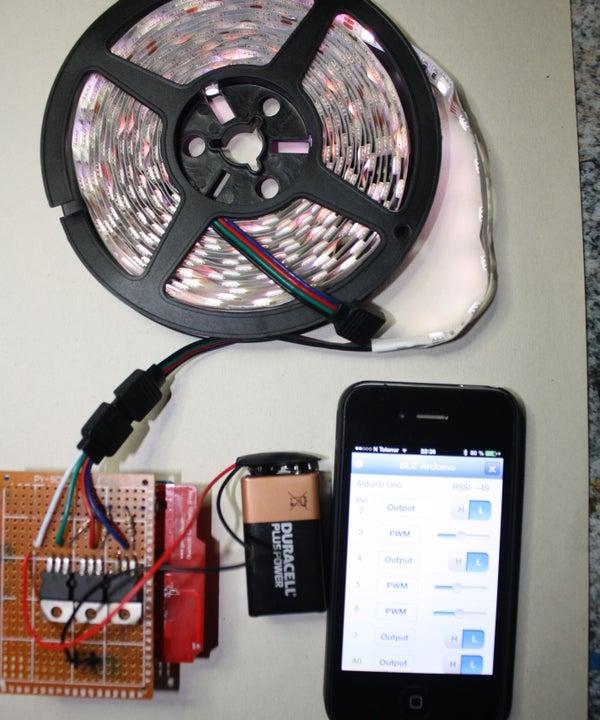 Smartphone Arduino RBL BLE Shield RGB Led Light Controller