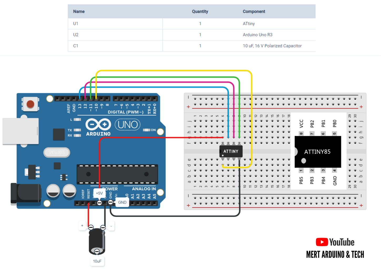 Programming an ATtiny85 With an Arduino UNO: