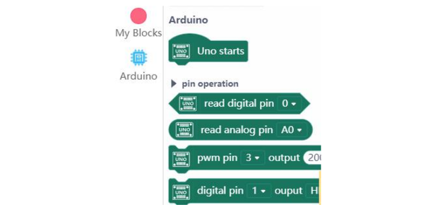 """Click the """"Extension"""" at the Lower-left Corner, Select """"Board""""->""""Arduino UNO""""."""