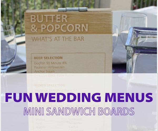 Fresh Take on Wedding Menus: Mini Sandwich Board Centerpieces