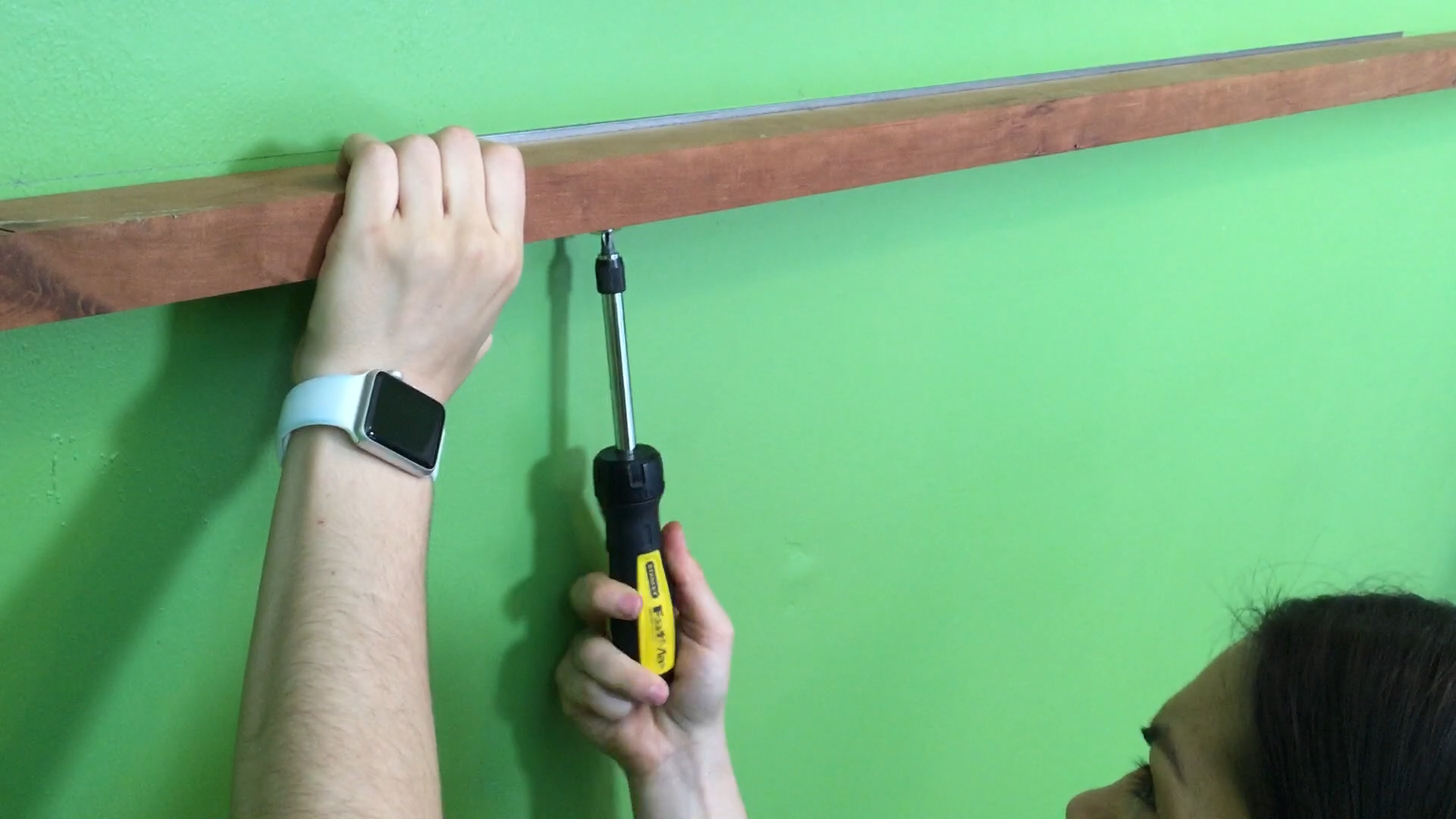 Screw Angle Iron to Wall and Underside of Wood