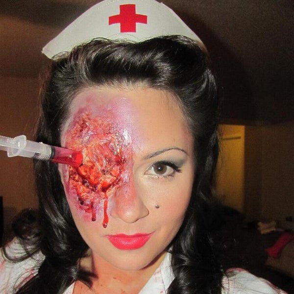 Syringe in the Eye Halloween Prosthetic Effect